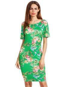Short Sleeve Floral Print Sheath Dress