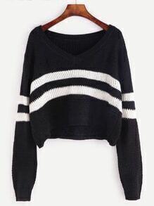 Black Striped Chevron Knit Crop Sweater