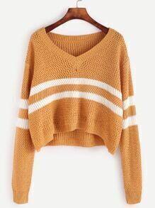 Jersey corto con rayas - amarillo