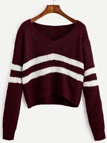 kurzer Pullover V-Ausschnitt mit Streifen - burgund rot
