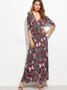 Multicolor Tribal Print Self Tie Warp Dress
