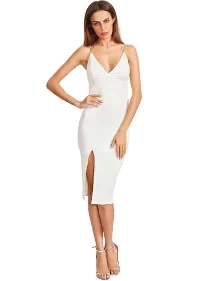 Beige Split Side Star Back Sheath Dress