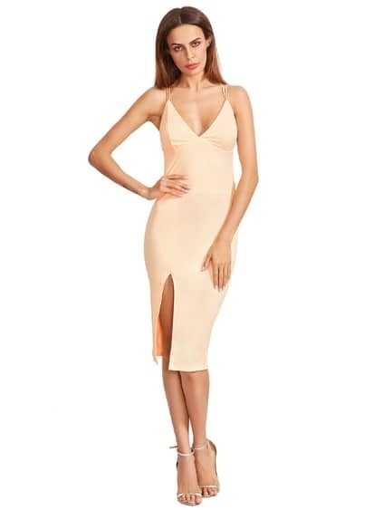 Apricot Split Side Star Back Sheath Dress