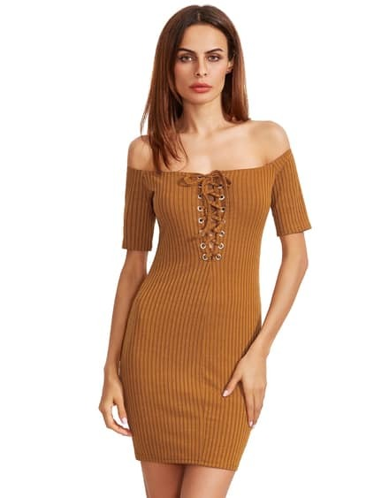 Brown Off The Shoulder Lace Up Retour Robe Bodycon