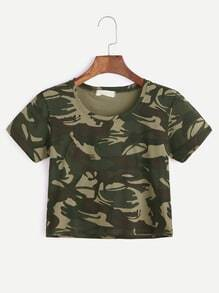 Camouflage Print Crop-T-Shirt