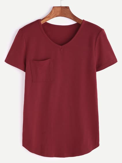 Bourgogne V Neck Curved Hem Pocket T-shirt