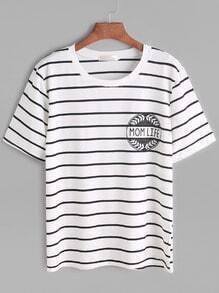 White Letter Print Striped T-shirt