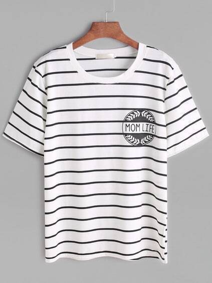 White Letter Imprimer Striped T-shirt