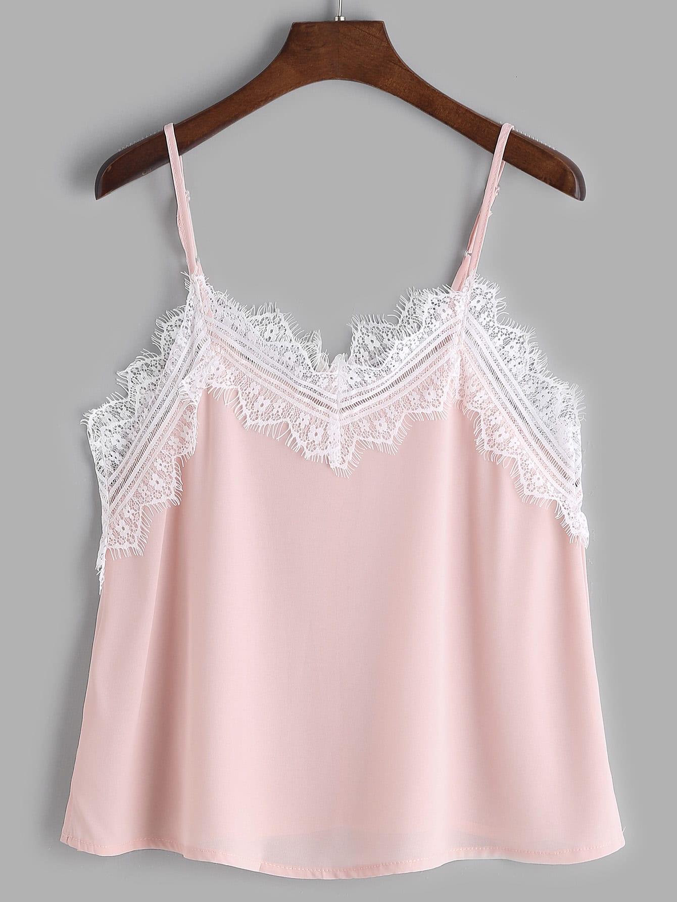 Pink Contrast Eyelash Lace Trim Cami Top vest170221002