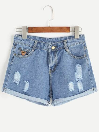 Shorts rotos en denim - azul claro