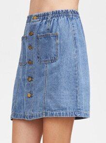Bleu unique poitrine double poches Jupe en denim