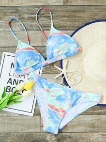 Ensemble bikini imprimé bleu clair
