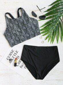 Black Printed Racer Back High Waist Bikini Set