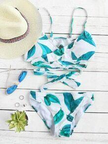 Set bikini con detalle cruzado con estampado de hoja - blanco