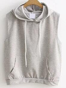 Grey Drawstring Hooded Vest With Pocket