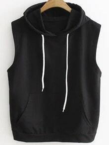 Black Drawstring Hooded Vest With Pocket