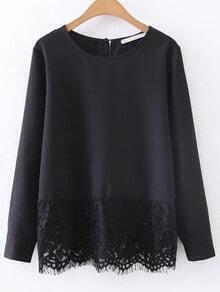 Black Contrast Lace Hem Chiffon Blouse