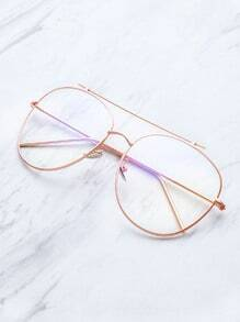 rose gold frame clear lens double bridge glasses