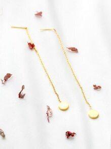 Pendientes redondos con cadena - dorado