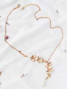 Buy Gold Flower Embellished Chain Necklace