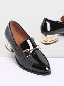 Black Pearl Design Chunky Heeled Patent Leather Loafers