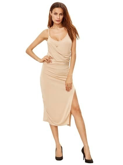Apricot Spagettic Strap Ruched Split Sheath Dress