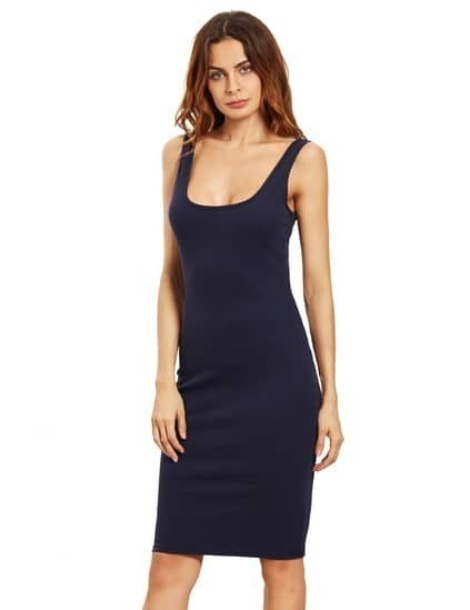 Navy Sleeveless U Neck Bodycon Dress