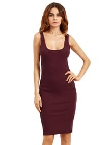 Burgundy sin mangas U Neck Bodycon vestido