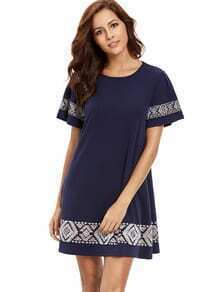 Short Sleeve Embroidered A-line Dress
