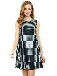 Green Striped Sleeveless Dress