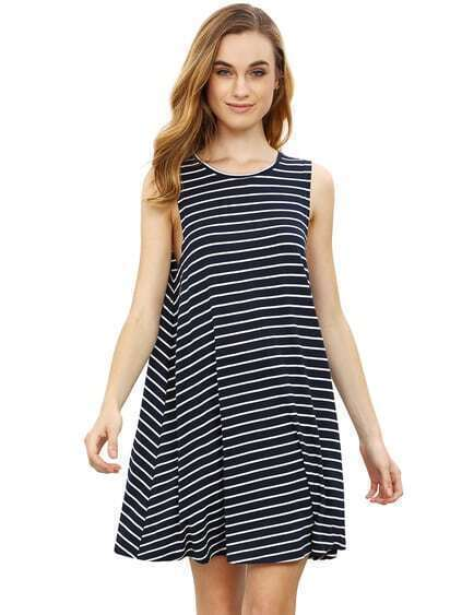 Deep Blue Striped Sleeveless Dress