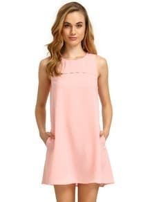 Pink Concert Sleeveless Pockets Casual Dress