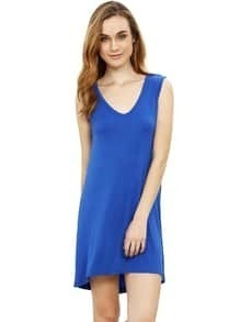 Blue Minis Sleeveless Vest Casual Dress