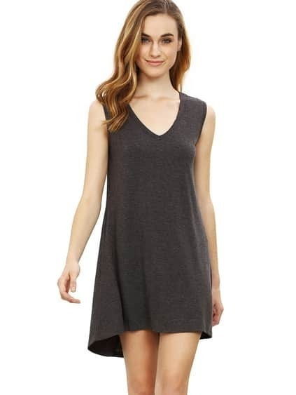 Gris Minis sin mangas chaleco vestido casual