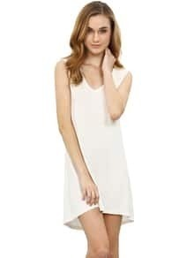 White Minis Sleeveless Vest Casual Dress