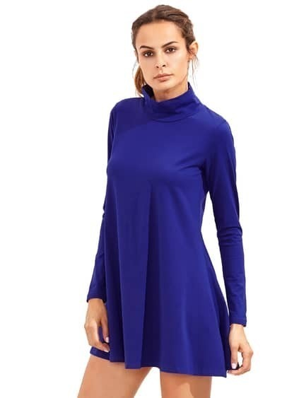 Royal Blue Pullover Long Sleeve Casual Dress