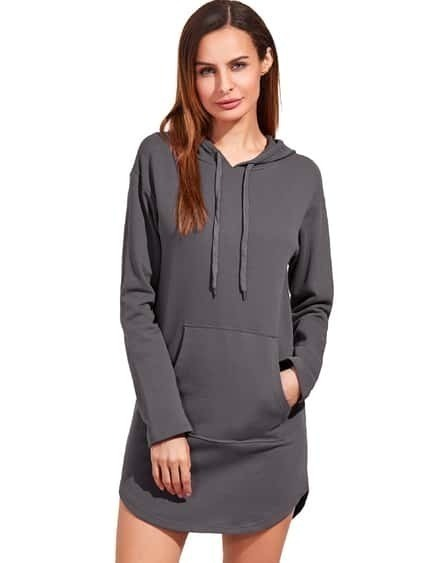 Heather Grey Curved Hem Hooded Sweatshirt Dress With Pocket