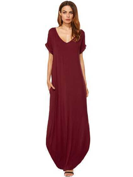 Red Rolled-cuff Pockets Split Maxi Dress