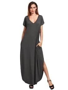 Dark Grey Rolled-cuff Pockets Split Maxi Dress