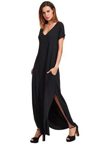 Schwarzes Rolled-Cuff Pockets Split Maxi Kleid