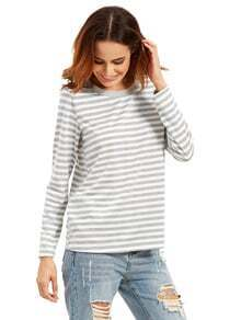 Graues langes Hülsen-gestreiftes T-Shirt