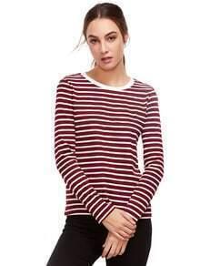 Burgunder-langes Hülsen-gestreiftes T-Shirt