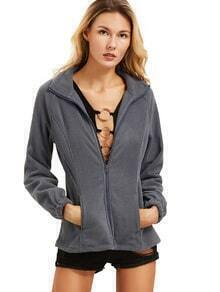 Grey High Neck Zipper Outerwear
