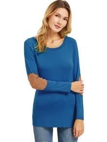 Blaues Langarm-T-Shirt mit Aufschrift