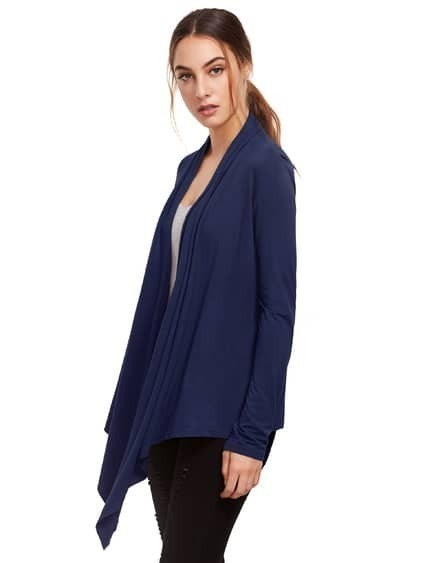 Blue Open Front Drape Cardigan Sweater