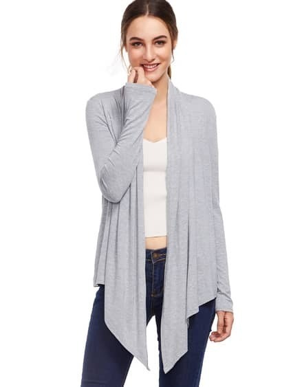 Grey Abierto Front Drape Cardigan Sweater