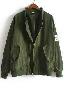 Chaqueta cuello mao bolsillos suelta -verde