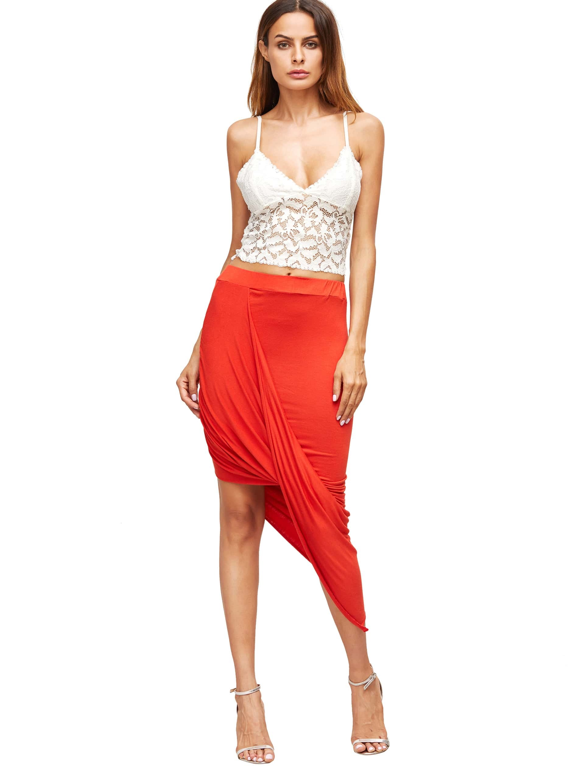 Red Slim Bodycon Asymmetrical Skirt