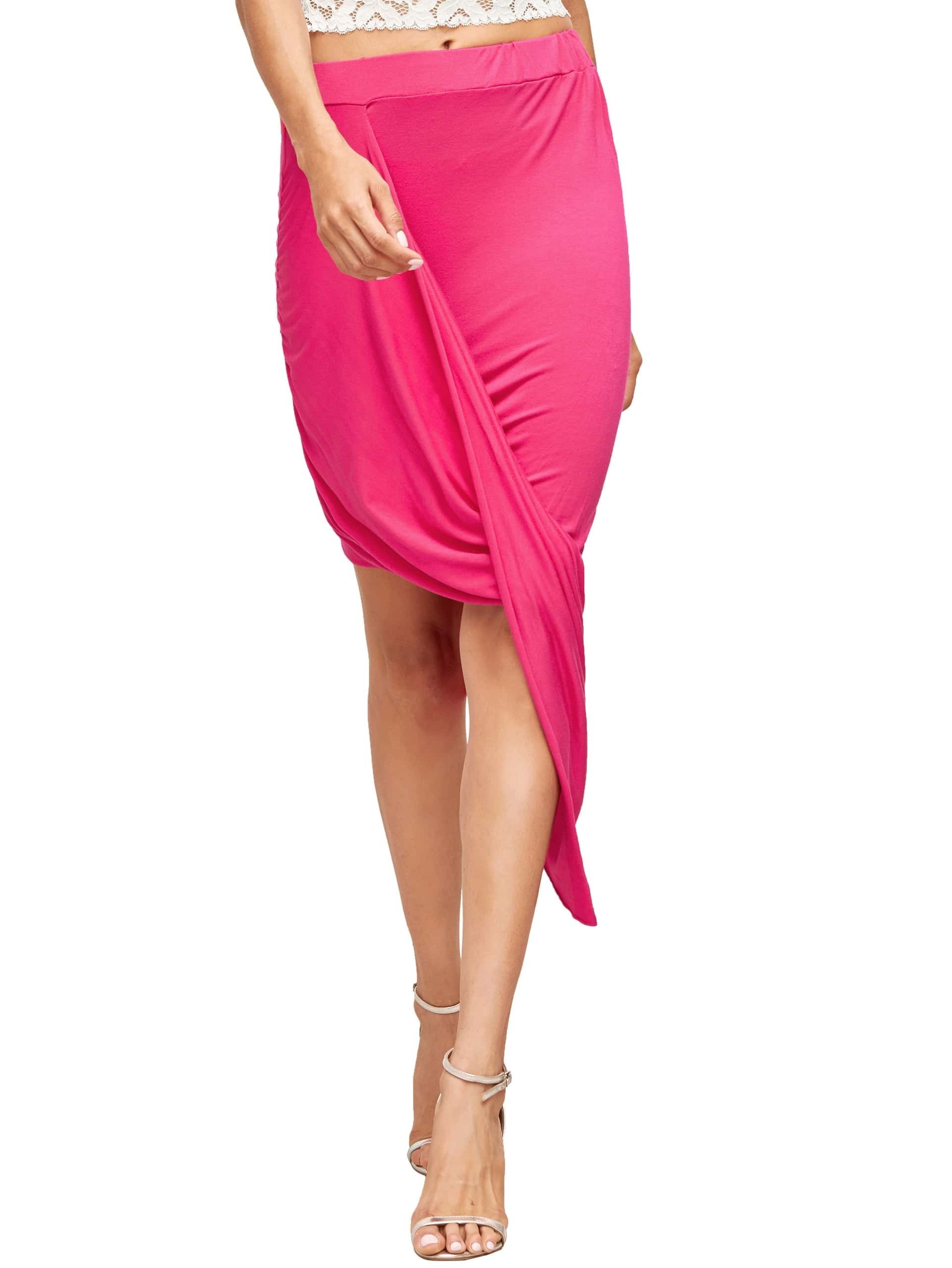 Hot Pink Slim Bodycon Asymmetrical Skirt