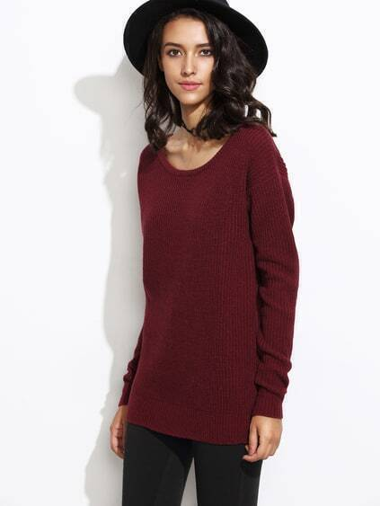 Burgundy Round Neck Long Sleeve Sweater